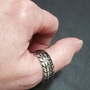 Men's silver plated tire ring